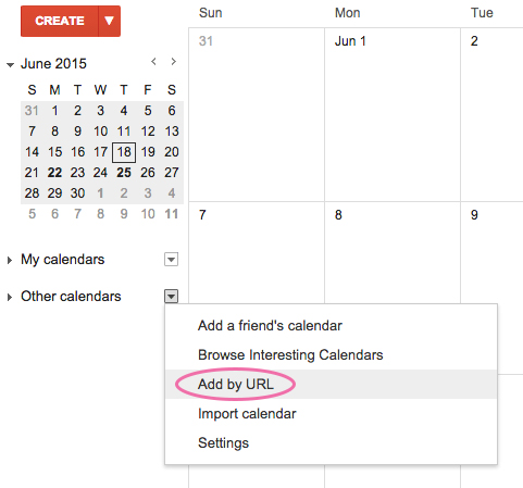 Add by URL on google calendar