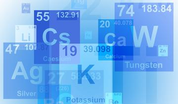 An illustration of various chemical symbols from the periodic table of elements.