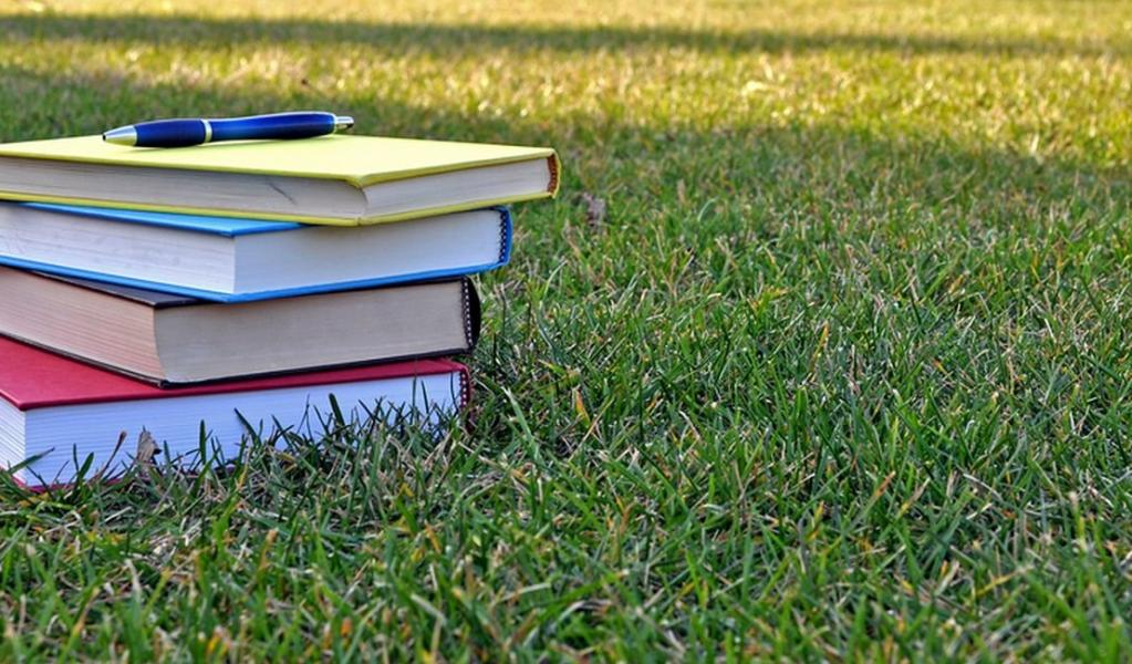 stack of books on a wide campus lawn